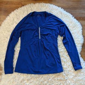 Athleta Pump It Up Cobalt Blue Running Shirt